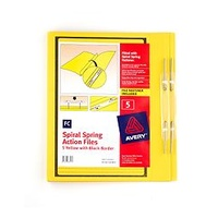 Spiral Spring Action File Foolscap [a] Yellow printed Black Avery 88547 - box 5
