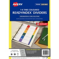 Avery 920146 L7411-6R Divider Avery Poly Ready Index A4 1-6