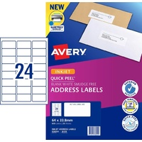 InkJet Labels 24 per sheet J8159 White Permanent Avery 936054 - box 25