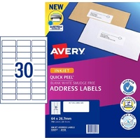 InkJet Labels 30 per sheet J8158 White Permanent Avery 936057 - box 25