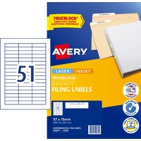 Laser Labels Suspension files tab inserts 57x15mm 51 per sheet L7409-25 Printable Avery 959075 pack 25 sheets