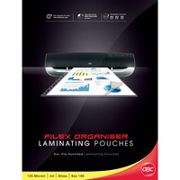 Laminating Pouch [ax] A4  box 100 125mic 11h Punch Filex Punched BL125MA4FILEX