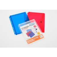 Binder Wallet A4 Storage Pocket A4 With Button Red/Blue/Clear beautone 36669 - pack 3