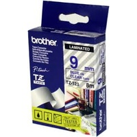 Brother TZe123 9mm x 8m Blue on Clear TZ-123 P-Touch - each