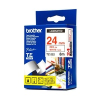 Brother TZe252 24mm Red On White TZ-252 P-Touch - each