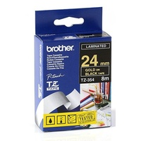 Brother TZe 24mm X 8m Gold on Black TZ-354 P-Touch - each
