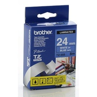 Brother TZe555 24mm X 8m WHITE on BLUE TZ-555 P-Touch - each