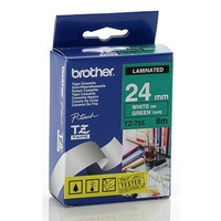 Brother TZ 24mm X 8m WHITE on GREEN TZ-755 P-Touch - each