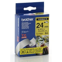 Brother TZ 24mm X 8m Black on Yellow TZ-FX651 P-Touch - each
