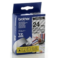 Brother TZ 24mm X 8m BLACK on CLEAR (MAT) TZ-M51 P-Touch - each