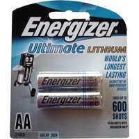 Batteries - AA - 2 Lithium Energizer L91BP2 - pack 2