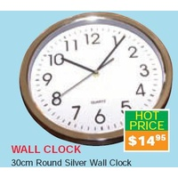 Clock Wall Round Silver 12 Inch Mode UN71641 - each