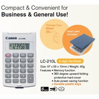Calculator  8 Digit Canon LC-210L Battery life of 500 hours, with folding protective hard cover and light weight modern design.
