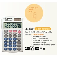 Calculator  8 Digit Canon LS-330H Pocket Dual power (Solar and battery) 114 x 70 x 11mm 50 grams