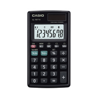 Calculator  8 digit Casio SL-797TV-BK Pocket Large, easy-to-read display. Tax calculation and currency conversion functions.