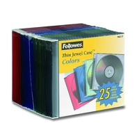 Cd Jewel Case Slim Assorted Colours Fellowes 98317 - pack 25
