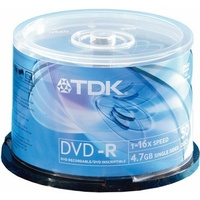 DVD-r Minus Recordable TDK 4.7GB 16x Spindle 50. - each