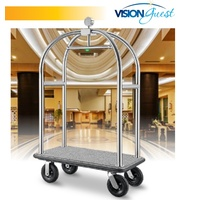 Birdcage Porters Trolleys Professional Brushed stainless steel -