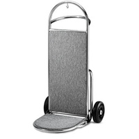 Porters Trolley 2-wheeled Brushed stainless - with grey carpet VG2112 -