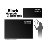 Magnetic Glassboard Black Glass 1200 x 600 VGB1260B - each