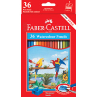 Pencils Coloured Pencils Faber Water Colour full length 17cm with Sharpener 16-114466 - pack 36