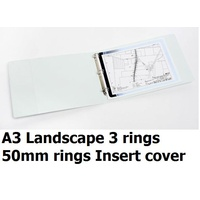 Insert Binder A3 3/50/D Landscape 50mm 3D rings White Marbig 5525008