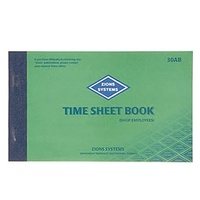 Time Sheet Book Zions 30AB Shop Employees  125mm x 205mm