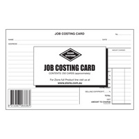 8x5 Job Costing Card Zions JCC - pack 250 The cards allow for detailed recording of labour and materials