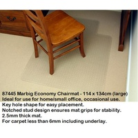 Chairmat Marbig Economy 114x 134 Large Carpet less than 6mm 87445 - for home/small office, occasional use.