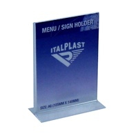 Stand Up Sign Holder Portrait A6 Italplast I563 Clear Double Sided