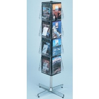 Magazine Brochure Display Revolving Floor rack 381x381x1626 Deflecto 58021
