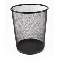 Metal Mesh Wastebasket 14 litre Black - each