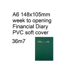 Diary Financial A63 21/22 36M7 A6 week to opening Collins Vinyl Cover Green 148x105