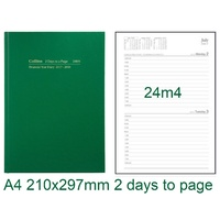 Diary Financial A42 21/22 24M4 A4 2 days to page Green Collins 297x210