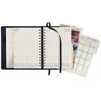 Diary 2020 Elite 1100.U99 Black Quarto Day to page + Monthly tabs 246x164 8am - 8pm, 1 hourly