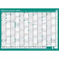 Year Planner Sasco 2019 Framed 500x700mm Green 10597 Framed
