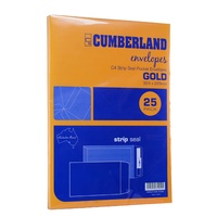Envelope 324x229 C4 [PnS] Gold  85gsm box  25 Cumberland 912323 Strip Peel and Seal