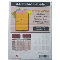 Labels  1up Laser Inkjet Copier Fluoro Orange 1 Per Sheet Stationers Supply Pack 25