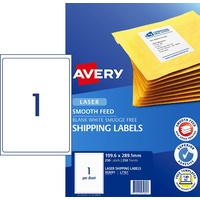 Labels  1up Laser L7167 Avery 959091 White 199x289 Permanent Box 250 with Smooth Feed