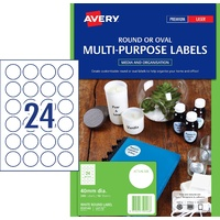 Labels 24up 40mm Round White 959146 L6112 10 sheet pack 240 labels circles Avery