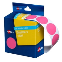 Label Avery Circle 24mm Pink 937249 Roll 500 Removable in Dispenser pack