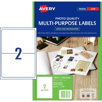 Labels 2up Laser 959768 Photo Glossy Colour L7768 Pack 25 labels per pack Avery