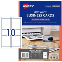 Laser Business Cards 150gsm Matt White micro Perforated edge 90x52mm L7415 Avery 959026 - box 100