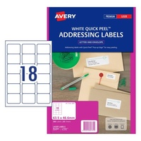 Labels 18up Laser L7161 White Avery 952001 box 20