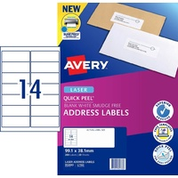 Labels 14up Laser 99x38 Avery L7163 952003 Permanent box 20 sheets 280 white labels