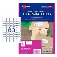 65up Laser Quick Peel L7651 White box 100 959071 Avery 38.1x21.2mm Address Labels