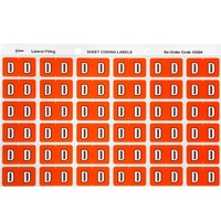 Labels Side Tab Letter D box 180 Avery 43304 25x38mm Colour Coding