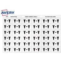 Labels Side Tab Letter Y box 180 Avery 43325 25x38mm Colour Coding