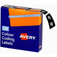 Labels Side Tab Letter Mc box 500 Avery 43227 25x38mm Colour Coding