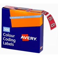 Labels Side Tab Letter B box 500 Avery 43202 25x38mm Colour Coding